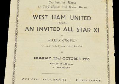West Ham United v All Star XI 22.10.1956