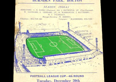 Bolton Wanderers v Rotherham United 20.12.1960