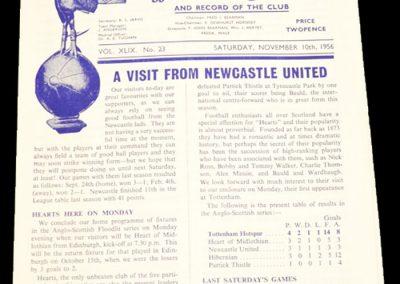 Tottenham Hotspur v Newcastle United 10.11.1956
