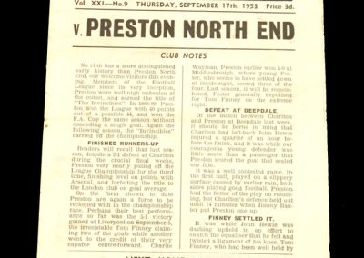 Charlton v Preston North End 17.09.1953