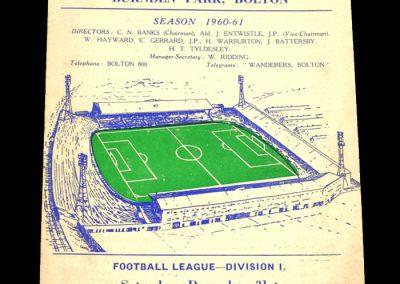 Bolton Wanderers v West Ham United 31.12.1960