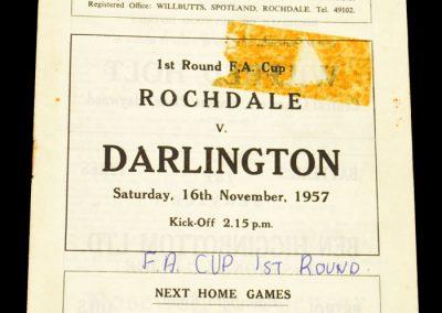 Rochdale v Darlington FC 16.11.1957   FA Cup 1st Round