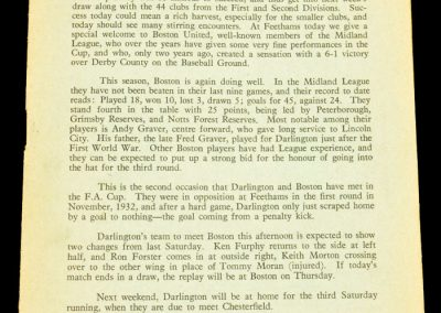 Boston United v Darlington FC 07.12.1957 | FA Cup 2nd Round