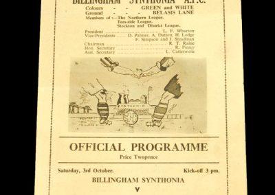 Billingham Synthonia FC v Stanley United 03.10.1953
