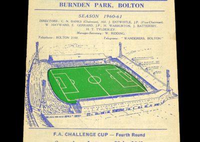 Bolton Wanderers v Blackburn Rovers 28.01.1961