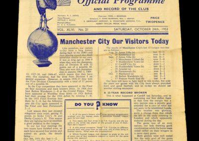 Tottenham Hotspur v Manchester City 24.10.1953