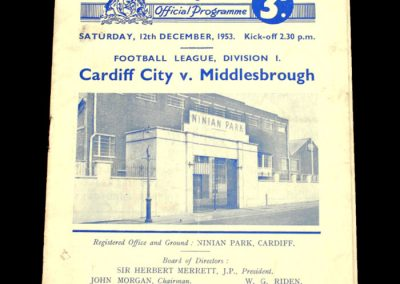 Cardiff City v Middlesborough 12.12.1953