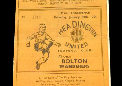 Headington (Oxford) v Bolton 30.01.1954 | FA Cup 4th Round