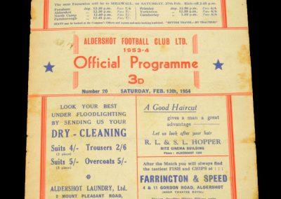 Aldershot v Bristol City 13.02.1954