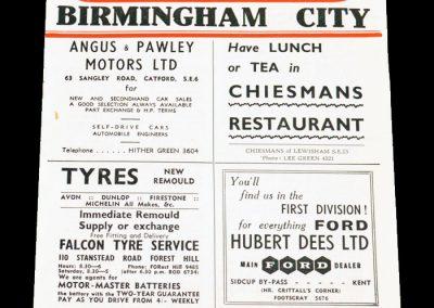 Charlton Athletic v Birmingham City 30.03.1957