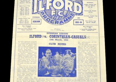 Ilford v Corinthian Casuals 13.03.1954