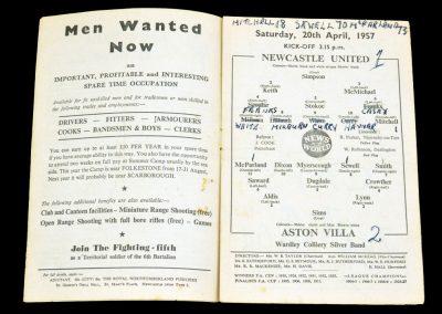 Newcastle United v Aston Villa 20.04.1957