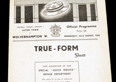 Luton Town v Wolverhampton Wanderers 22.08.1956