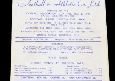 Bolton Wanderers v Wolverhampton Wanderers 22.09.1956