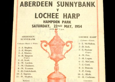 Aberdeen Sunnybank v Lochee Harp 22.05.1954 | Scottish Junior Cup Final
