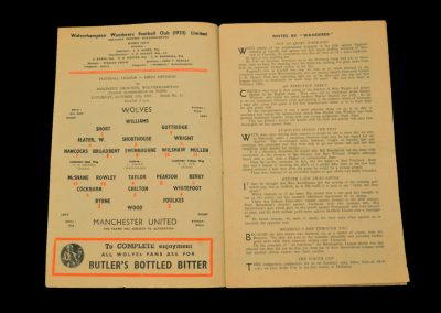 Wolverhampton Wanderers v Manchester United 17.10.1953