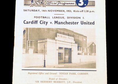 Cardiff City v Manchester United 14.11.1953