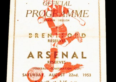 Brentford Reserves v Arsenal Reserves 22.08.1953
