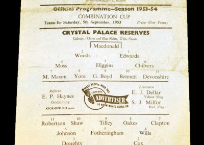 Crystal Palace Reserves v Arsenal Reserves 05.09.1953
