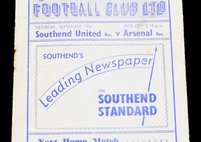 Southend United Reserves v Arsenal Reserves 19.09.1953