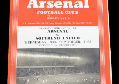 Southend United v Arsenal 30.09.1953 | Floodlight