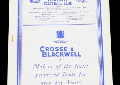 Brighton & Hove Albion v Arsenal Reserves 10.10.1953