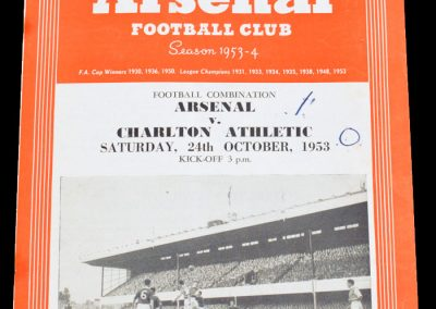 Charlton Athletic v Arsenal 24.10.1953