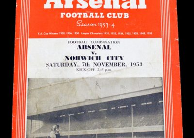 Norwich City v Arsenal 07.11.1953