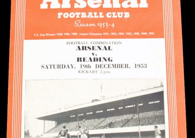 Reading v Arsenal 19.12.1953