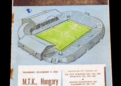MTK Hungary v Manchester City 06.12.1956