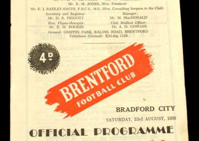 Bradford City v Brentford FC 23.08.1958