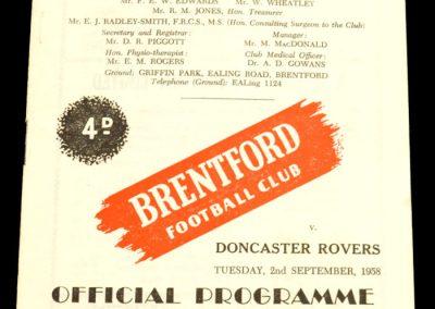 Doncaster Rovers v Brentford FC 02.09.1958