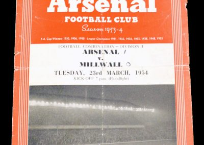 Millwall v Arsenal 23.03.1954