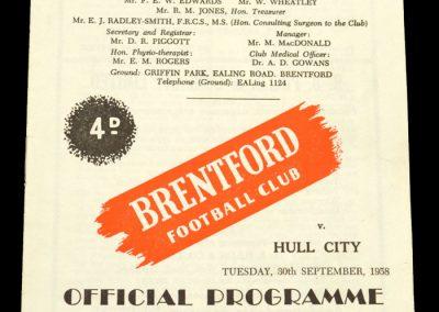 Hull City v Brentford FC 30.09.1958