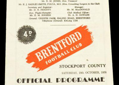 Stockport County v Brentford FC 18.10.1958
