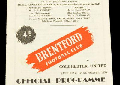 Colchester United v Brentford FC 01.11.1958