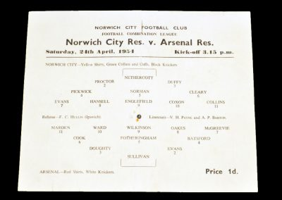 Norwich City Reserves v Arsenal Reserves 24.04.1954
