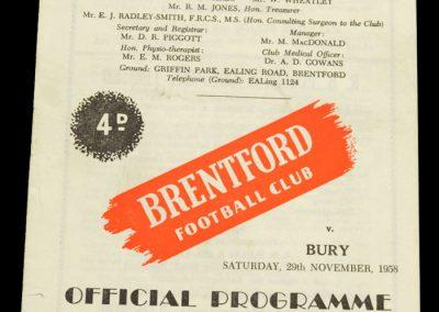 Bury v Brentford FC 29.11.1958