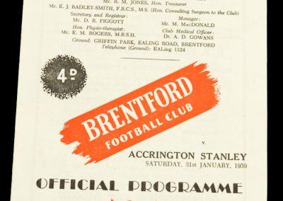 Accrington Stanley v Brentford FC 31.01.1959