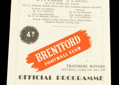 Tranmere Rovers v Brentford FC 28.02.1959