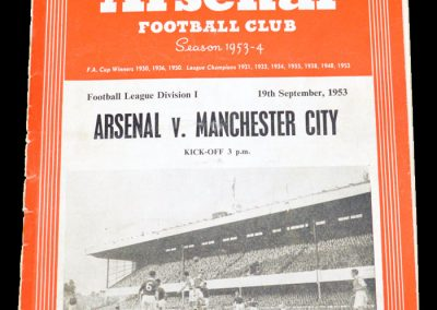 Arsenal v Manchester City 19.09.1953 | Not listed but made his Arsenal debut