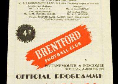 Bournemouth & Boscombe v Brentford FC 28.03.1959