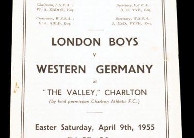 London boys v West Germany 09.04.1955
