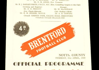 Notts County v Brentford FC 21.04.1959