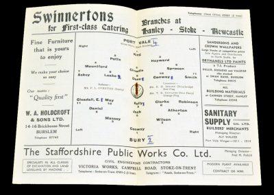 Port Vale v Bury 01.10.1955