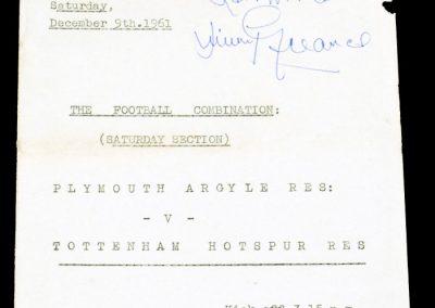 Plymouth Argyle Reserves v Tottenham Hotspur Reserves 09.12.1961