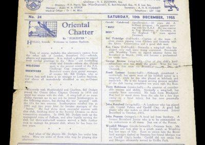 Leyton Orient v Brentford 10.12.1955