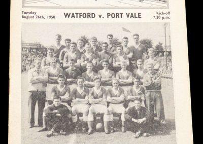 Port Vale v Watford 26.08.1958