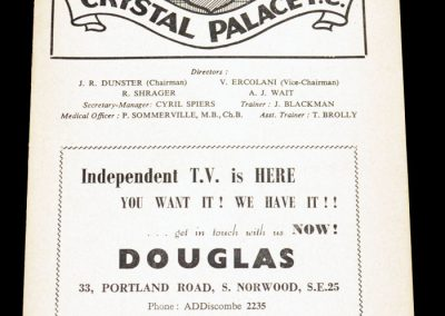 Crystal Palace FC v Swindon 27.12.1955