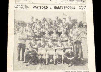 Hartlepools United v Watford 30.03.1959